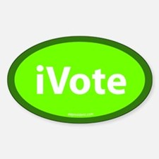 iVote Green Oval Decal