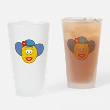 Girl Smiley Face With Hat Pint Glass
