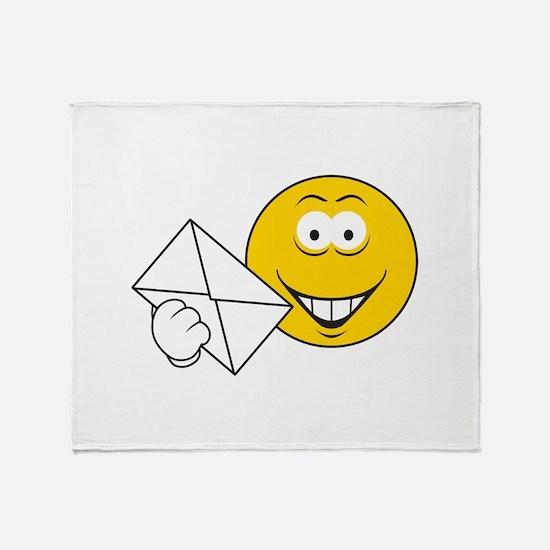 Postal Smiley Face Throw Blanket
