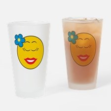 Smiley Face Girl With Flower Pint Glass