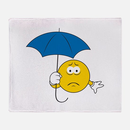 Umbrella Sad Smiley Face Throw Blanket