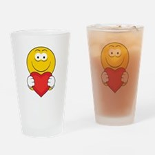 Smiley Face Holding Heart Pint Glass