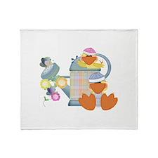 Cute Garden Time Baby Ducks Throw Blanket