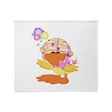 Cute Baby Girl Ducky Duck Throw Blanket