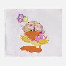 Cute Baby Girl Ducky Duck Throw Blanket