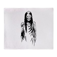 Creepy Zombie Girl Throw Blanket