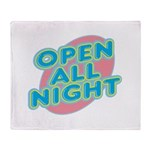 Open All Night Neon Sign Grap Throw Blanket