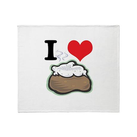 I Heart (Love) Baked Potatoes Throw Blanket