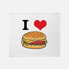 I Heart (Love) Cheeseburgers Throw Blanket