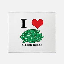 I Heart (Love) Green Beans Throw Blanket