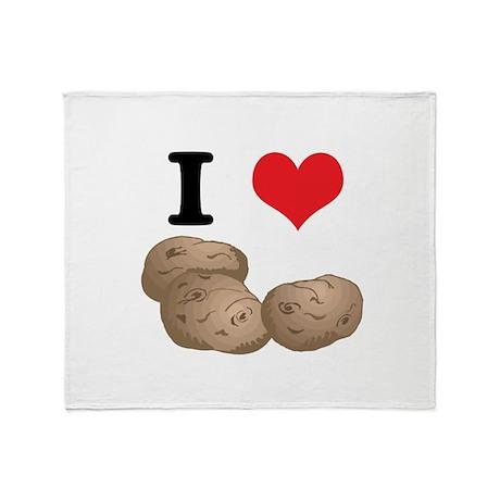 I Heart (Love) Potatoes Throw Blanket