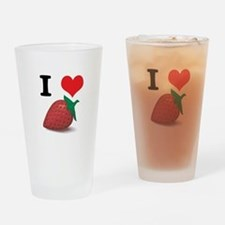 I Heart (Love) Strawberries Pint Glass