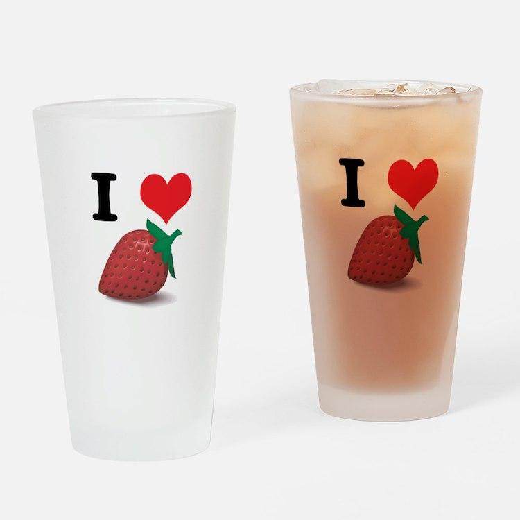 I Heart (Love) Strawberries Pint Glass
