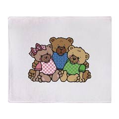 Cute Country Bear Family Throw Blanket