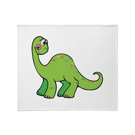 Cute Green Brontosaurus Dinos Throw Blanket