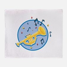 Trumpet and Music Notes Desig Throw Blanket