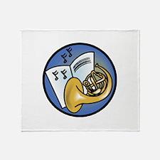 Tuba and Sheet Music Circle D Throw Blanket