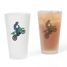 Dirt Bike Popping Wheelie Pint Glass