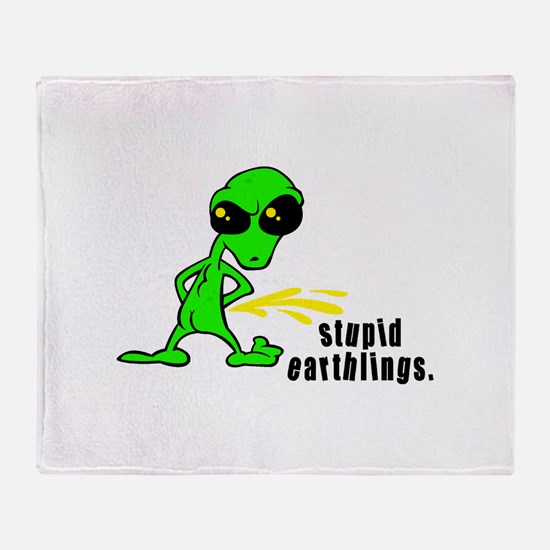 Stupid Earthlings Pissing Ali Throw Blanket