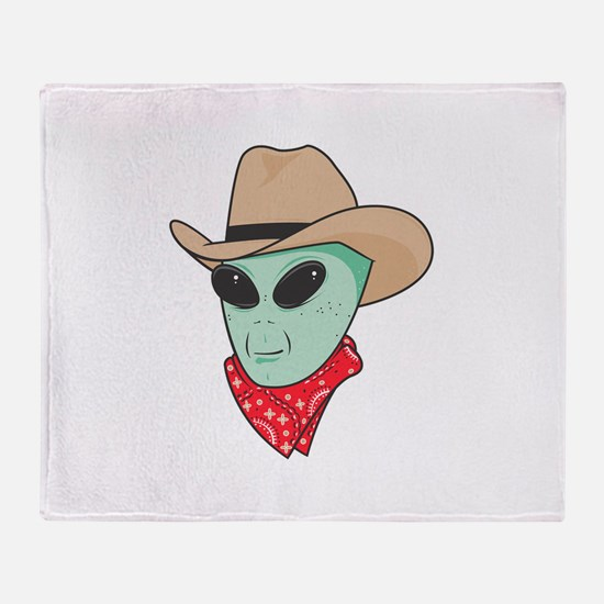 Cowboy Alien Throw Blanket
