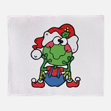 Silly Christmas Froggy Throw Blanket