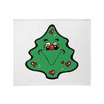 Cute Happy Christmas Tree Throw Blanket