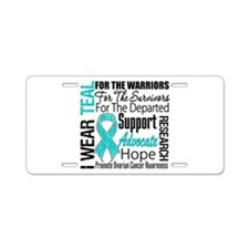Teal Collage Ovarian Cancer Aluminum License Plate
