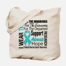 Teal Collage Ovarian Cancer Tote Bag