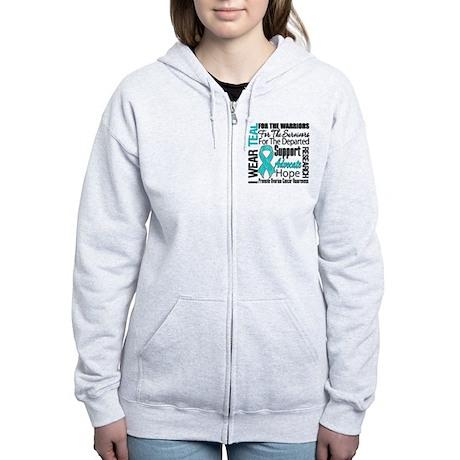 Teal Collage Ovarian Cancer Women's Zip Hoodie