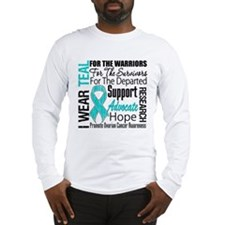 Teal Collage Ovarian Cancer Long Sleeve T-Shirt