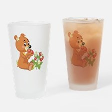 Teddy Bear Eating Strawberrie Pint Glass