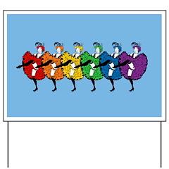 Rainbow CanCan Dancers Yard Sign