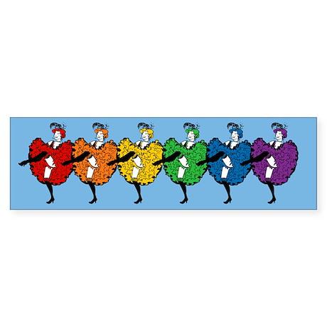Rainbow CanCan Dancers Sticker (Bumper)