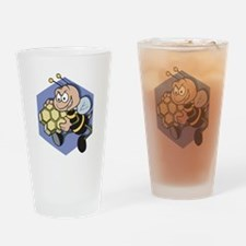 Greedy Bee With Honeycomb Pint Glass