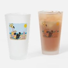 Funny Flamingo on Vacation Pint Glass