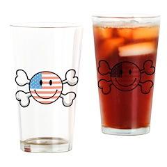 American Flag Smiley & Crossb Pint Glass