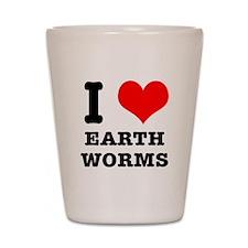 I Heart (Love) Earth Worms Shot Glass