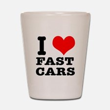 I Heart (Love) Fast Cars Shot Glass