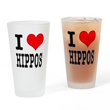 I Heart (Love) Hippos Pint Glass