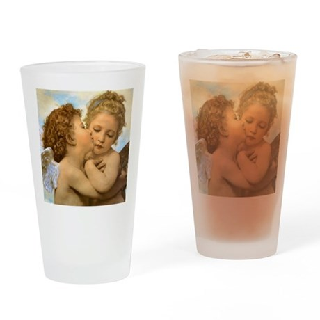 First Kiss by Bouguereau Drinking Glass