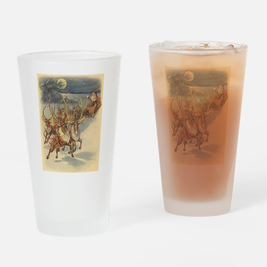Vintage Christmas Santa Claus Drinking Glass