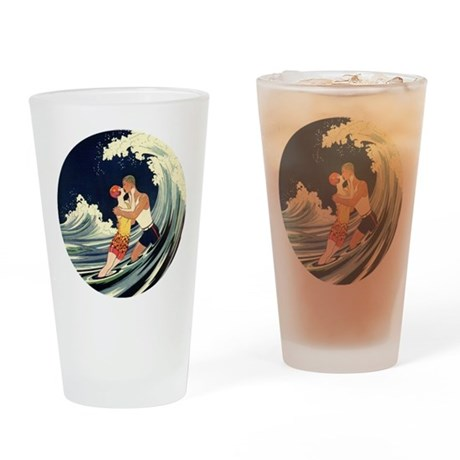 vintage art deco love in the surf drinking glass by masterpiececafe. Black Bedroom Furniture Sets. Home Design Ideas