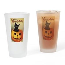 Vintage Halloween, Cute Black Cat Drinking Glass