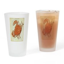 Vintage Celestial Zodiac, Cancer Drinking Glass