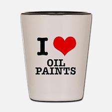I Heart (Love) Oil Paints Shot Glass