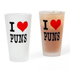 I Heart (Love) Puns Pint Glass
