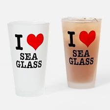 I Heart (Love) Sea Glass Pint Glass