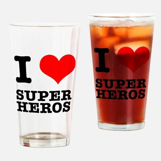 I Heart (Love) Super Heros Pint Glass