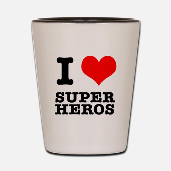 I Heart (Love) Super Heros Shot Glass