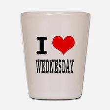I Heart (Love) Wednesday Shot Glass